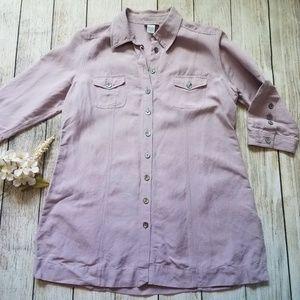 Soft Surroundings Linen Tunic 3/4 Sleeve H